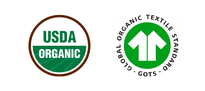 USDA Organic and GOTS certification logo