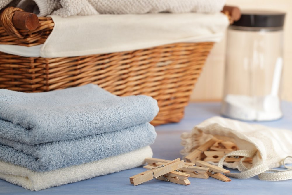 laundry basket and organic towels