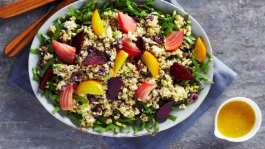 Layered Citrus Beet and Freekeh Salad