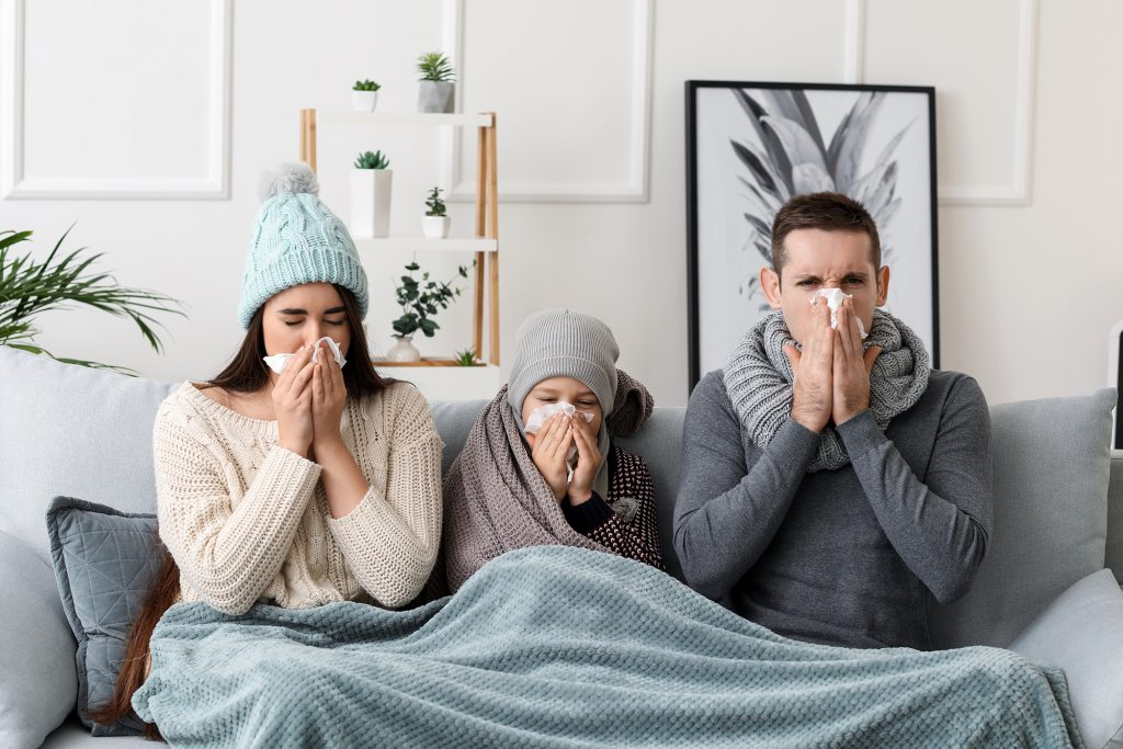 Family sick with a cold