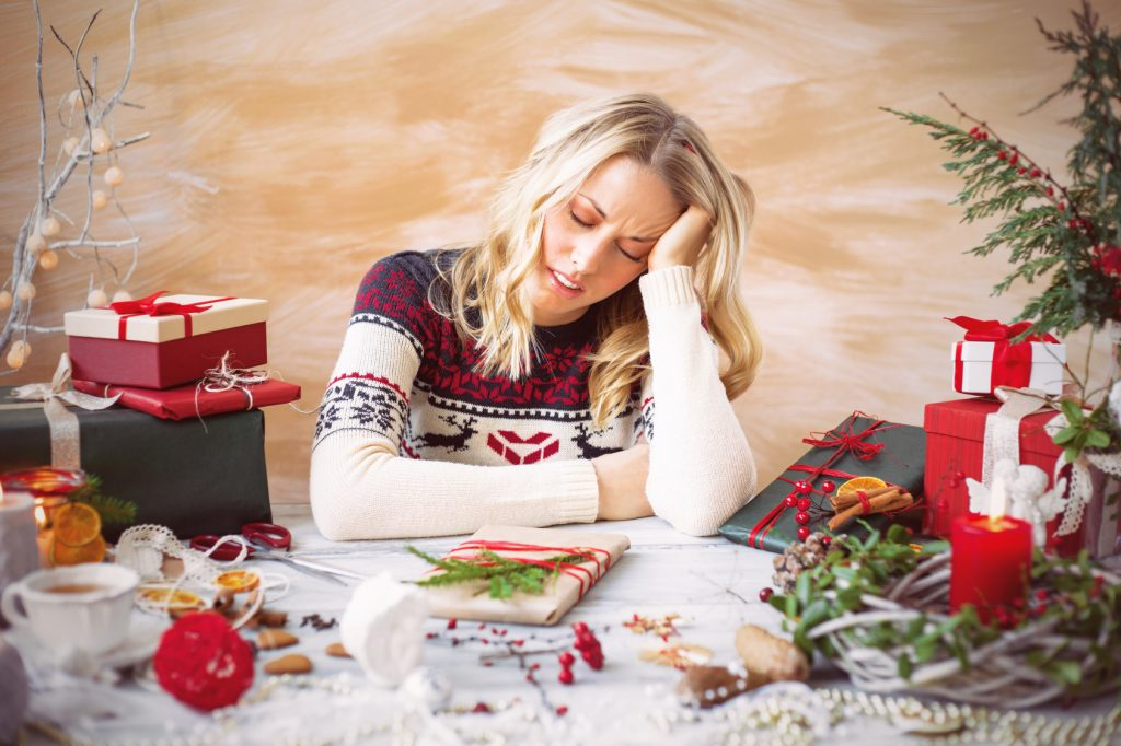 Woman stressed during holidays