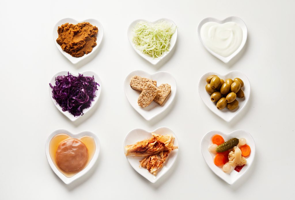 Assorted probiotic foods and fermented foods