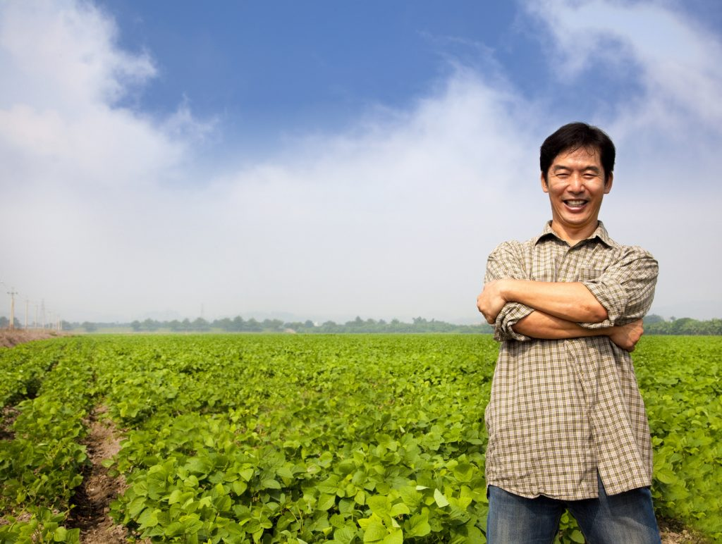 Organic farmer on his field