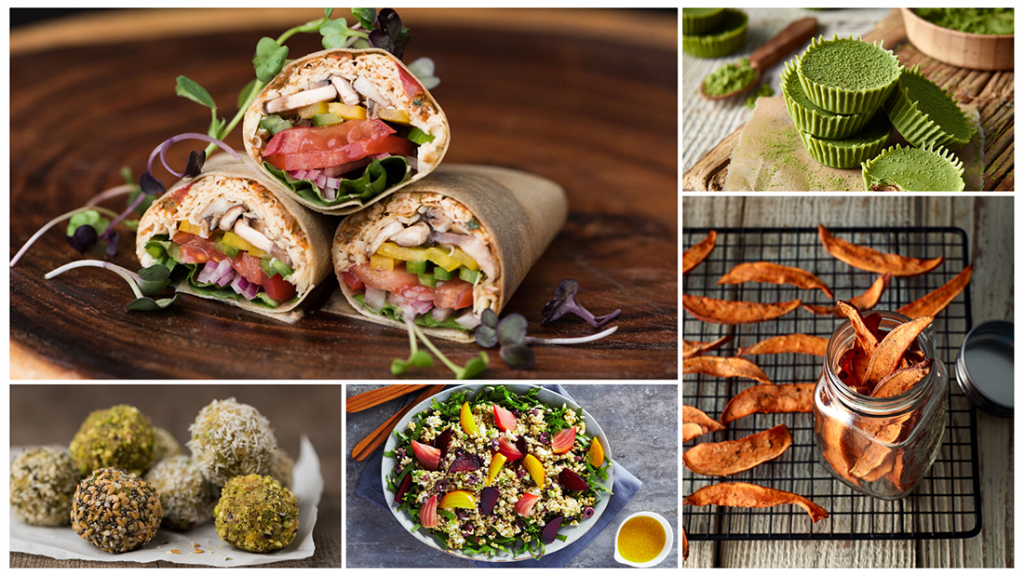 A variety of plant-based meals