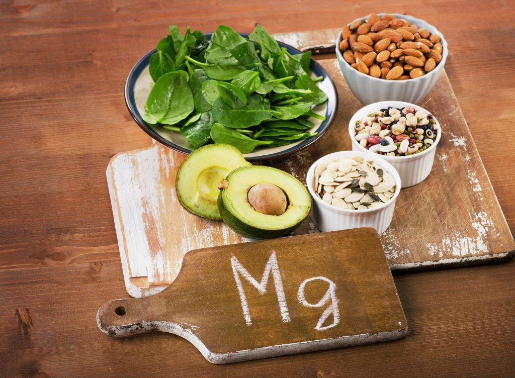 Magnesium Rich Foods on  wooden table