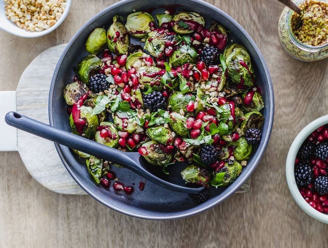 Roasted Brussels Sprout Salad with Blackberry Balsamic Dressing