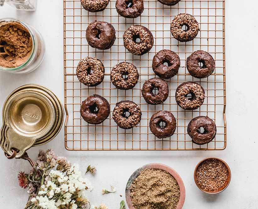 ealthy Baked Olive Oil-Flaxseed Chocolate Donuts